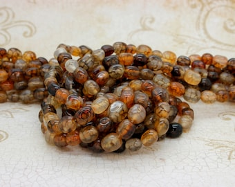 "Spider Web Agate Cube Ball Assorted Shape Natural Gemstone Loose Beads Bead Full 15.5"" Strand"