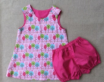 Handmade Tree Dress with bloomers, A line tree dress with bloomers, Nature Dress