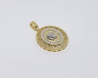Personable Fashion Medusa Czs Pendant Gold 10 Karat