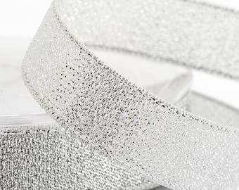 Gorgeous Sparkly Silver Lurex Ribbon 15mm Wide x 2 Metres - Card Making Sewing Craft