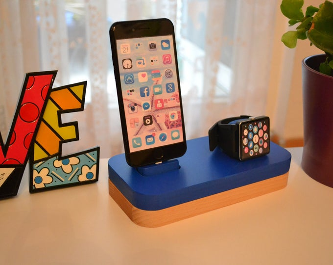 iphone charging station Apple Watch stand gift Apple Watch Cradle Apple Watch station stand IDOQQ due Blue Wood Station, iphone 5.6