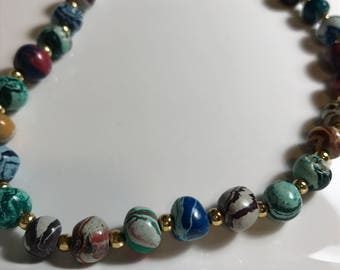 Marbelized Colorful Beaded Necklace