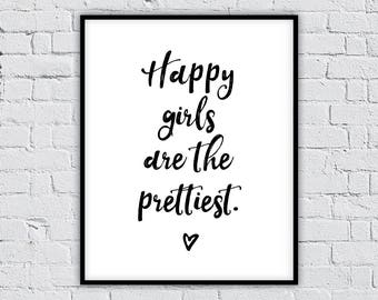Happy Girls Are The Prettiest. nursery printable,nursery wall art,nursery decor,nursery art, kids room decor,baby shower gifts,gift for kids