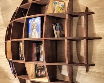 Hand made solid wood bookcase half sphere.