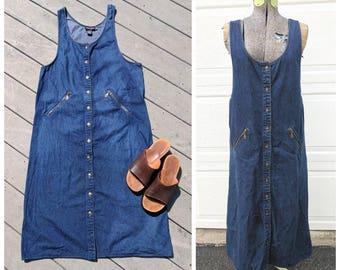 Vintage 90's Dark Wash Button-Up Denim Bib Dress || Jean Jumper || Denim Overall Dress || Denim Maxi Dress, XL