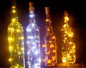 Wine bottle lights, wine cork string lights, starry string lights for any bottle, alternative lighting, home decorations