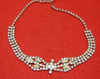Vintage 50's Rhinestone Necklace Weddings, Holidays, Parties and Proms