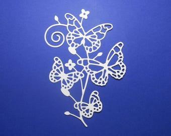 "Vanilla Cream Intricate Butterflies on a Flourish Branch Die Cuts 4 1/2 x 3"" Cardstock Paper Butterfly Scrapbook Card Embellishment 4 pc"