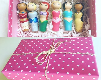Custom Princess Inspired Peg People / Set of 6 / Wooden Princess Dolls, Wooden Peg People, Natural Toys, Imagination Play, Hand Painted Toys