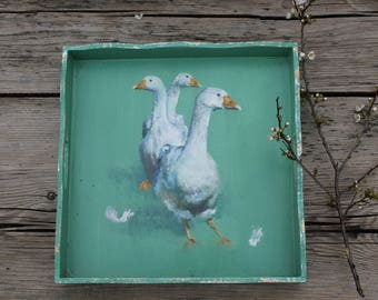 Tray hand painted 30 x 30 cm, shabby look