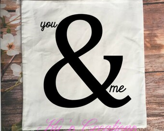 love pillowcase; you &me; love you more; ps i love you; valentines day gift; anniversary pillowcase; ampersand pillowcase; love case