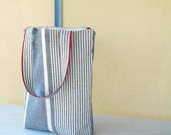 gray tote bag, summer tote bag, winter tote bag, gray white stripes