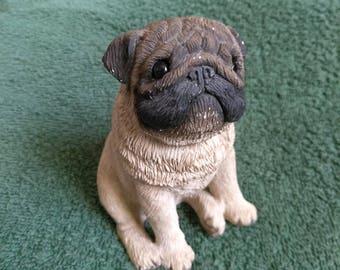 Vintage Sandicast 1990s 'Fawn Pug' Casted Miniature Super Realistic Dog Figurine
