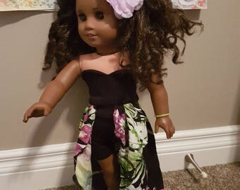 American girl doll, 18 inch doll floral trendy high low sweetheart dress