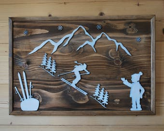 Cottage style wooden wall painting, winter, mountain, ski.