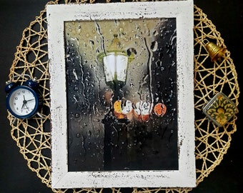 Lantern Rainy Weather Decoupage picture drops picture wall decor picture 3d effect  No glass decor 3D raindrop rainwater Hand painted frame