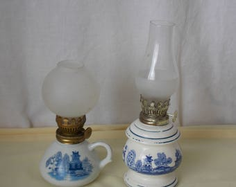 Pair of vintage French Blue&White small oil Lamps