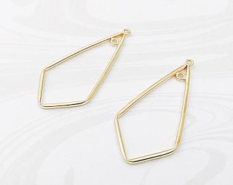 Gold Chandelier Earrings, 14k Gold Filled Ear Wires, Ear Wire Findings, 37mm, EWRS013