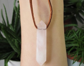 rose quartz necklace healing crystal necklace