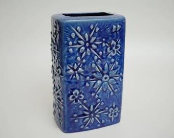 West German Mid-century Modernist 'Kosmos' Vase for Scheurich Blue Fat Lava 263-21