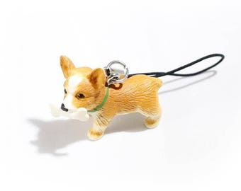 Mini corgi phone charm/key chain