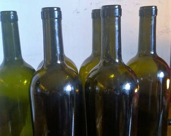 6 empty dark wine bottles different shapes 750 ml 2 corks per bottle