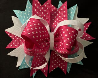 Boutique Style Hair Bow (Hot pink & Blue)