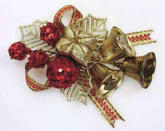 Gold Holly and Bells Christmas Cake Topper Decorations