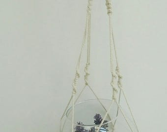 Hanger white macrame with beads