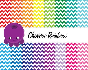 Chevron Rainbow, Scrapbook Paper, Zig Zag Pattern, Printable DIY, Background Pattern, Chevron Design, Commercial Use Art, Instant Download