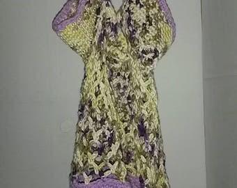 purple and cream market bag