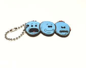 Rick and Morty Keychain - Meeseeks Inspired Keychain - Rick and Morty Inspired - Meeseeks - Wood Keychain - FREE SHIPPING