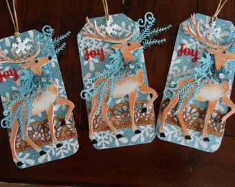 Set of 3 Reindeer large gift tags