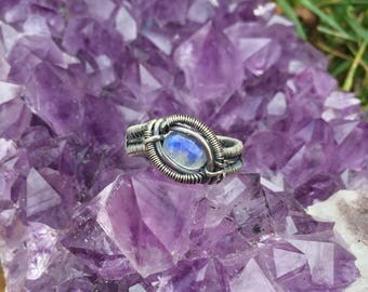 Handmade Wire Wrapped Blue Flash Moonstone Ring