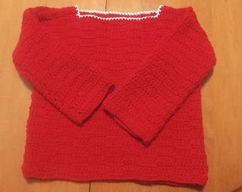 Crochet red Pullover sweater pattern