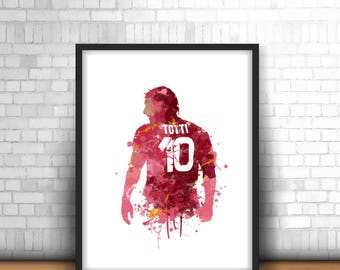Francesco Totti Roma Legend Art Print, Football Art, Mancave Decor, Boys Room Decor, Italian Football, Footy Art Print