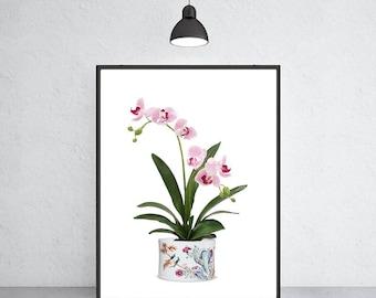 white vase with pink orchids art print Ming vase chinoiserie ginger jar art indigo blue porcelain Ming Dynasty art