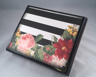 Altered Cigar Box, Keepsake Box, Jewelry Box, Treasure Box, Black, White, Stripe, Floral, Flower