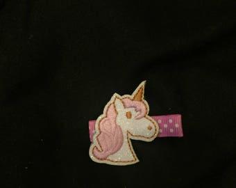 Pink unicorn hair clip