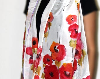 red dahlia flower silk hand painted scarf premium quality birthday gift girlfriend gift mothers day gift