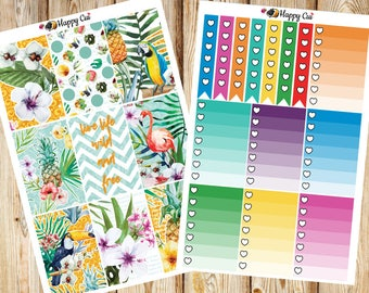 Tropical Paradise // Planner Sticker Kit // Happy Planner // More than 250 stickers!!