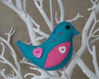 Turquoise felt bird