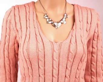 Sweater-women-neck V - knit is hand-made in France-wool-color old Rose-size38 - 0164