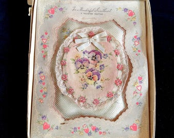 Antique Sweetheart Valentine Geeting Pansy Card Silk Tulle Lace Rust Craft Boston