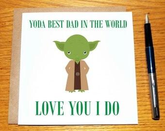 Birthday Card For Him, Dad, Daddy, Best Dad, Yoda, Grandad, Stepdad, Brother, Free UK Shipping