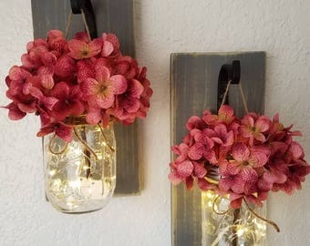 Set of 2 mason jars, Rustic home decor, hanging wall scones, lightened mason jars, home & living, scones with hydrangeas, mason jar scones,