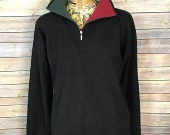 Vintage Tommy Hilfiger Crest Collar Colorblock Half Zip Sweatshirt (XL)