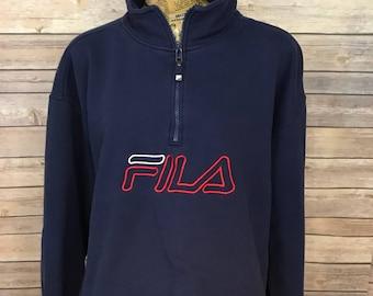 Vintage Fila Enbroidered Spell Out Half Zip Pullover Sweatshirt (XL)