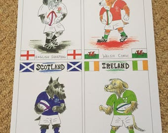 Four Rugby Nation Dogs painting
