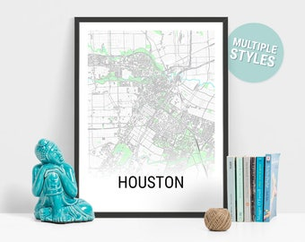 Map Of Houston Etsy - Houston texas on us map